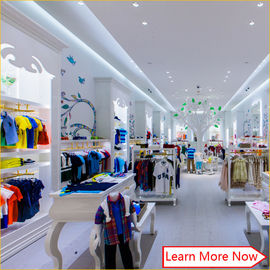 China Customized nice design fashion white wooden kids clothing store interior design,kids baby shop design decoration usine