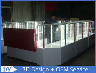 China Customize made white wooden tempered glass mobile kiosk for sale usine